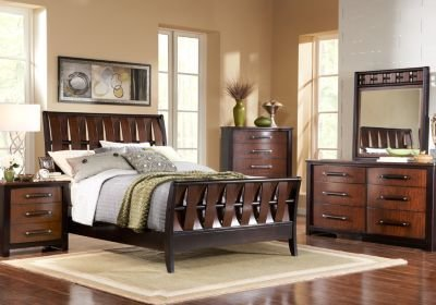 Best Bedford Heights Cherry 5 Pc Queen Sleigh Bedroom Queen With Pictures