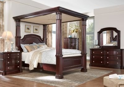 Best Dumont Cherry 6 Pc King Canopy Bedroom Bedroom Sets Dark With Pictures
