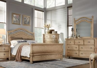 Best Laurel View Queen Natural 5Pc Sleigh Bedroom Bedroom Sets With Pictures