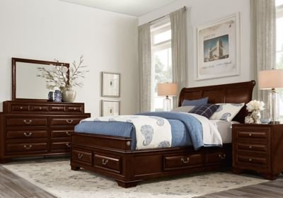 Best Mill Valley Ii Cherry 5 Pc Queen Sleigh Bedroom W Storage With Pictures