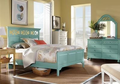 Best Cindy Crawford Home Seaside Blue Green Panel 5 Pc Queen With Pictures