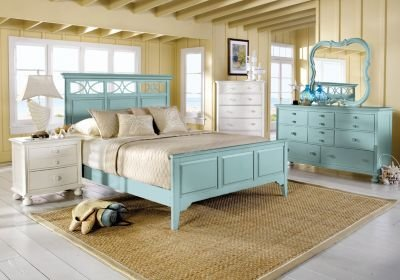 Best Cindy Crawford Home Seaside Green Panel 5 Pc King Bedroom With Pictures