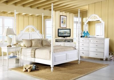 Best Cindy Crawford Home Seaside White 6 Pc Queen Poster Bedroom Bedroom Sets White With Pictures