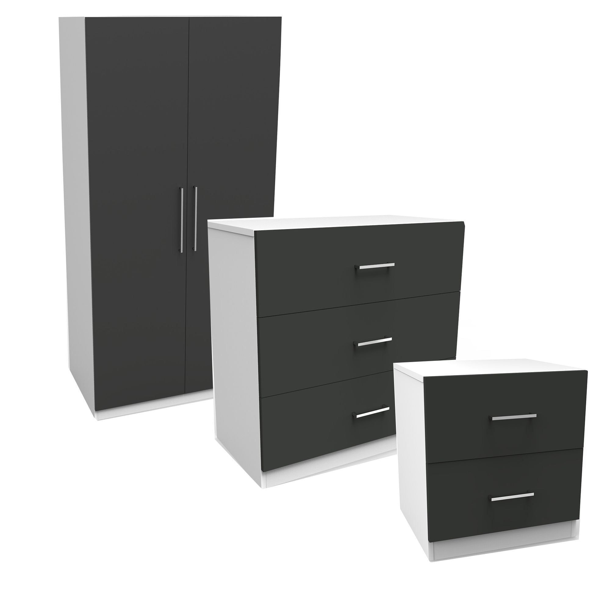 Best Darwin Gloss Anthracite White 3 Piece Bedroom Furniture With Pictures
