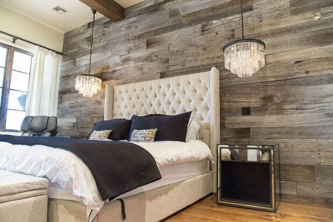 Best Tobacco Barn Grey Wood Wall Covering – Master Bedroom With Pictures