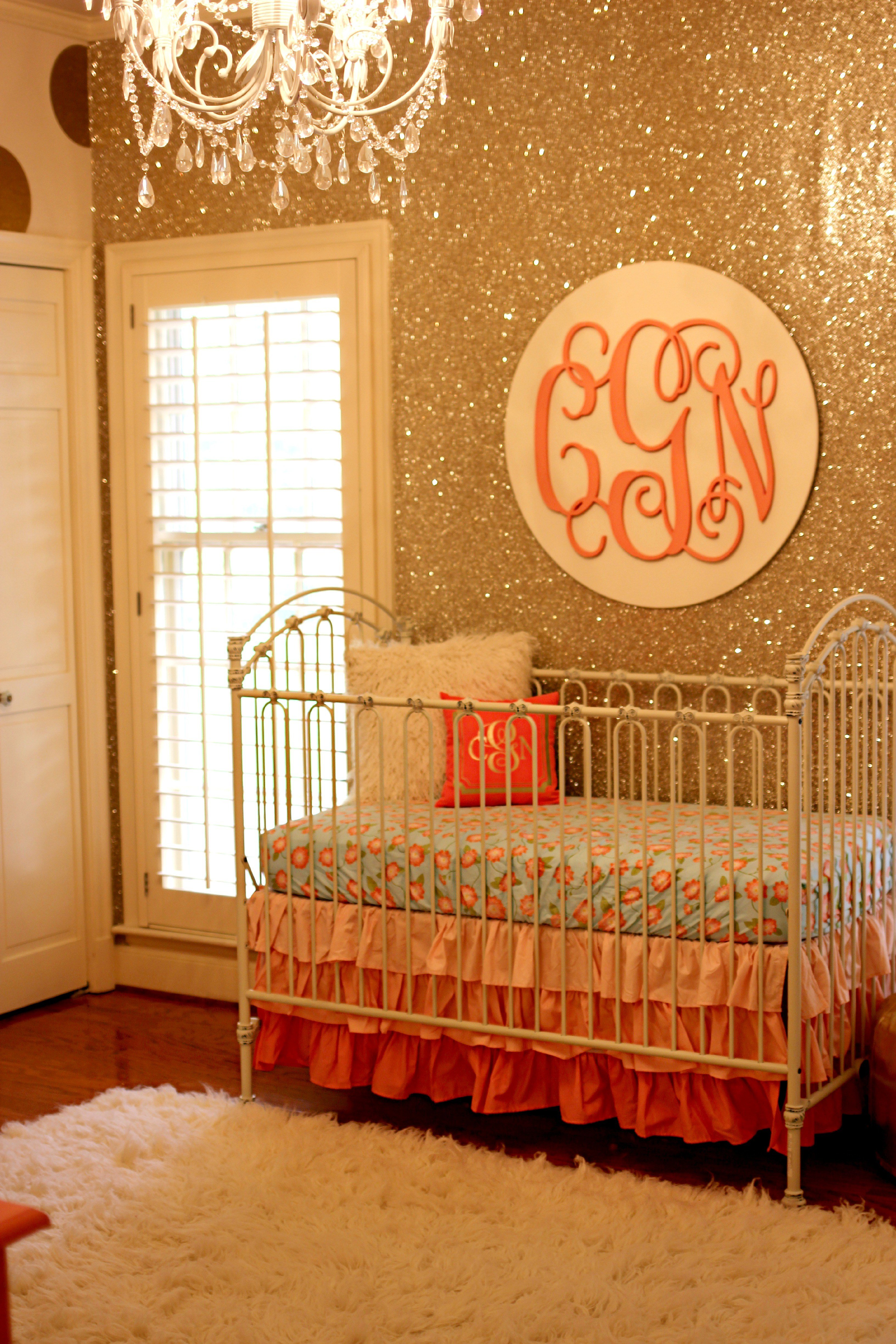 Best Coral And Gold Glitter Nursery Project Nursery With Pictures