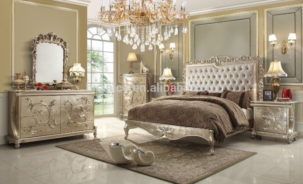 Best Royal European Style Wooden Bedroom Set With Gold Leaf With Pictures