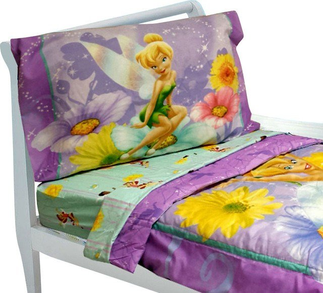 Best Tinkerbell Toddler Bedding Set 4Pc Disney Fairy Flowers With Pictures