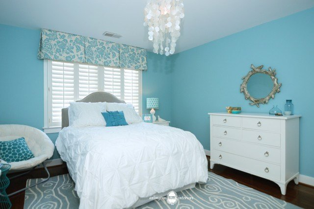 Best Ocean Inspired Aqua Girls Bedroom Transitional With Pictures