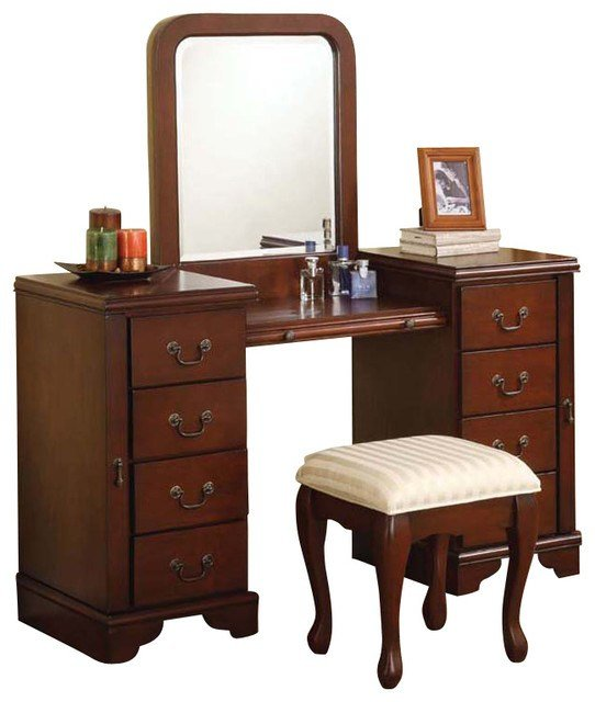 Best Cherry Louis Philipe 3 Pc Make Up Table Bench Mirror 8 With Pictures