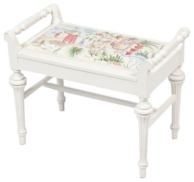Best Sold Out Small White Bench With Chinoiserie Seat 199 With Pictures