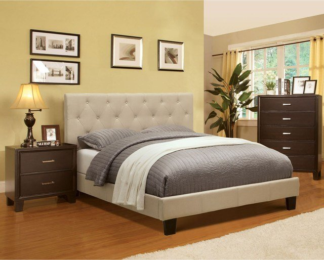 Best Furniture Of America Perdella 3 Piece Ivory Low Profile Bedroom Set Contemporary Bedroom With Pictures