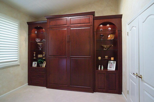 Best Stained Wood Wall Bed Side Cabinets Traditional With Pictures