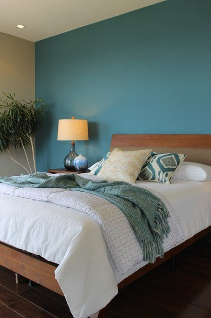 Best Teal Blue Wall Ikat Pillows Seeded Glass Lamps Modern With Pictures