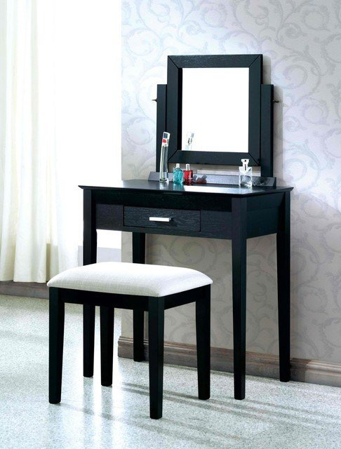 Best Black Grain Veneer 2Pcs Vanity Set Grey Fabric Stool By With Pictures