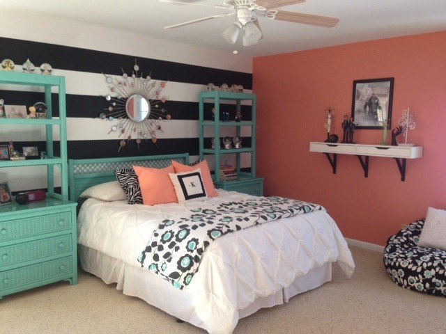 Best Girl S Teal Coral Bedroom With Pictures