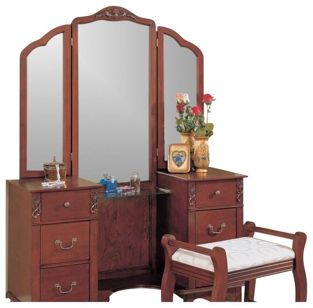 Best Coaster Traditional Wood Makeup Vanity Table Set With With Pictures