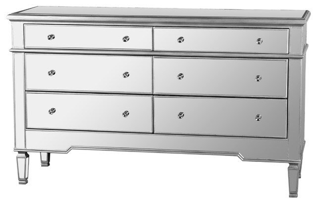 Best Nicolette Bedroom 6 Drawer Dresser Mirrored Finish With Pictures