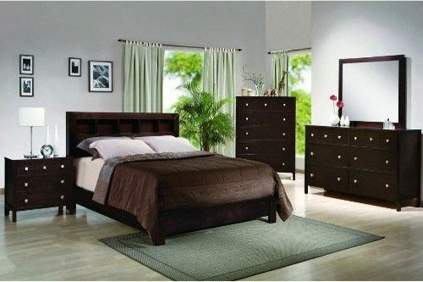 Best Crown Mark 4 Pc Alden Contemporary Dark Finish Wood Queen Bedroom Set 59B410 Contemporary With Pictures