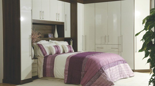 Best Contemporary Gloss White Walnut Modular Bedroom With Pictures