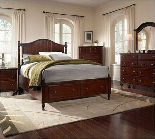 Best Broyhill Hayden Dark Cherry Panel Bedroom Set With Storage 4647S Traditional Bedroom With Pictures