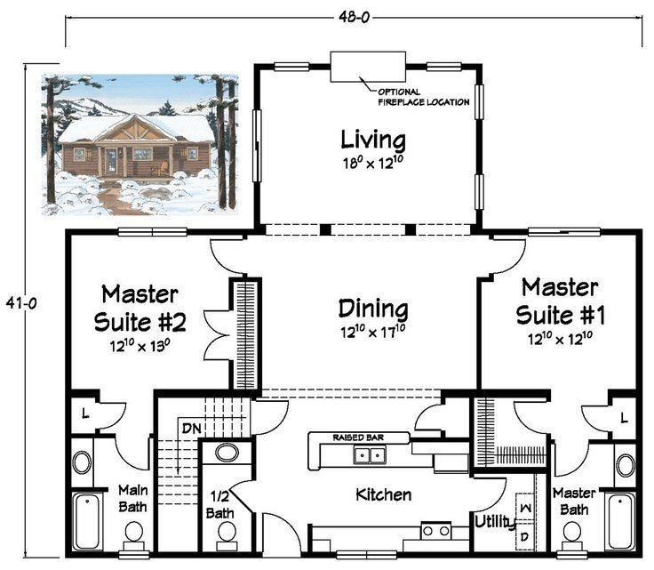 Best Two Master Suites Ranch Plans Pinterest With Pictures