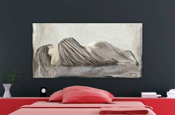 Best Very Large Figurative Canvas Art Print S*Xy Woman Bedroom Art Soft Pa… With Pictures