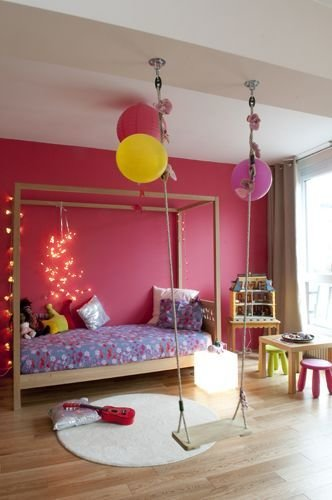 Best Swing In Girl S Colourful Bedroom Kool Kid Indoor Spaces With Pictures