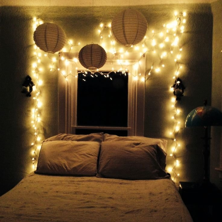 Best My Bedroom Oasis Twinkle Lights White And Stripes In With Pictures