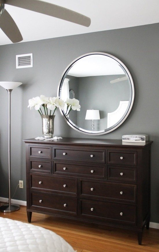 Best Gray Walls Dark Brown Furniture Bedroom Paint Color With Pictures