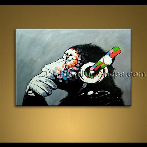Best Picture Of Thinking Monkey With Headphone Large Wall Art With Pictures