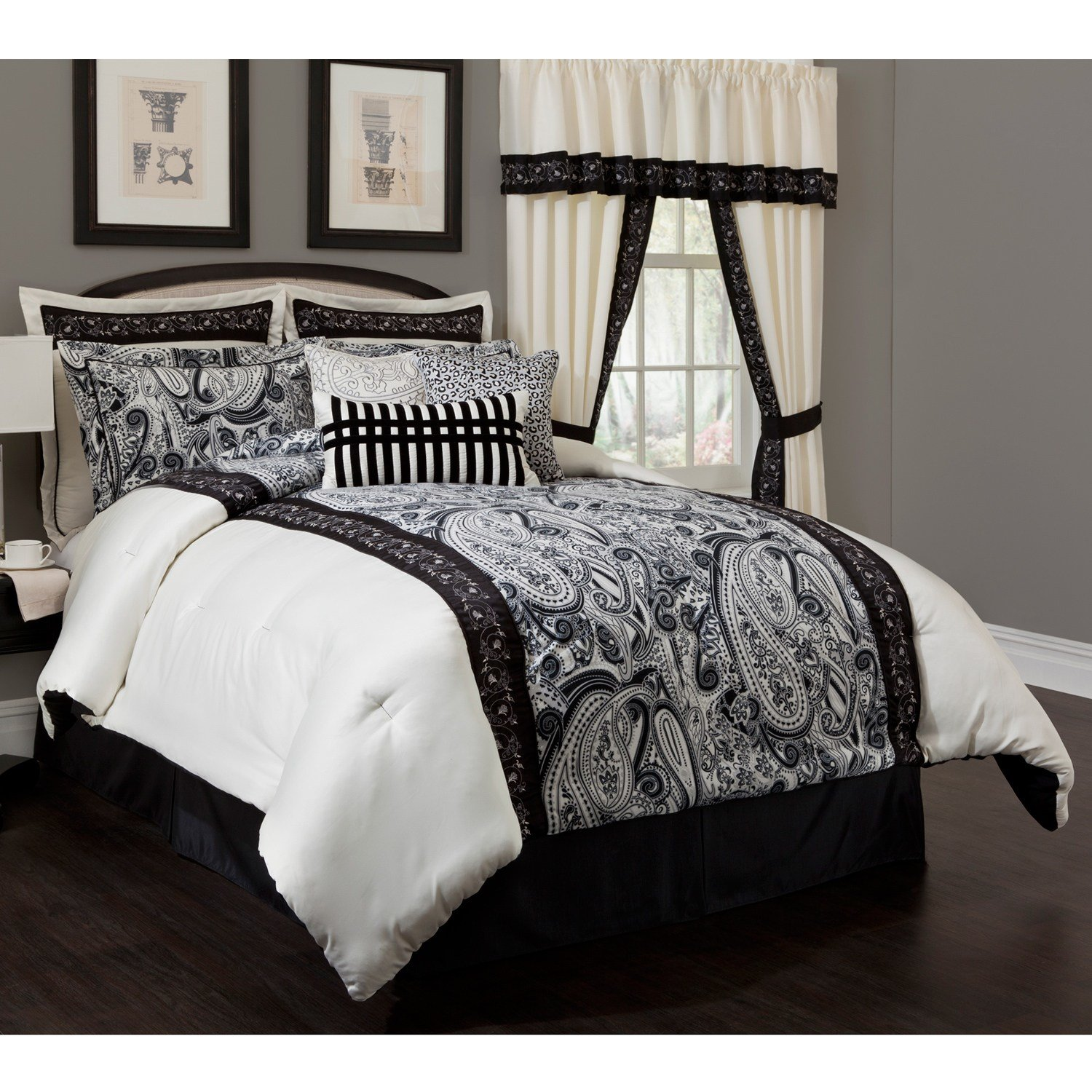 Best All Black Bed Set Blue And White Striped Comforter Black With Pictures