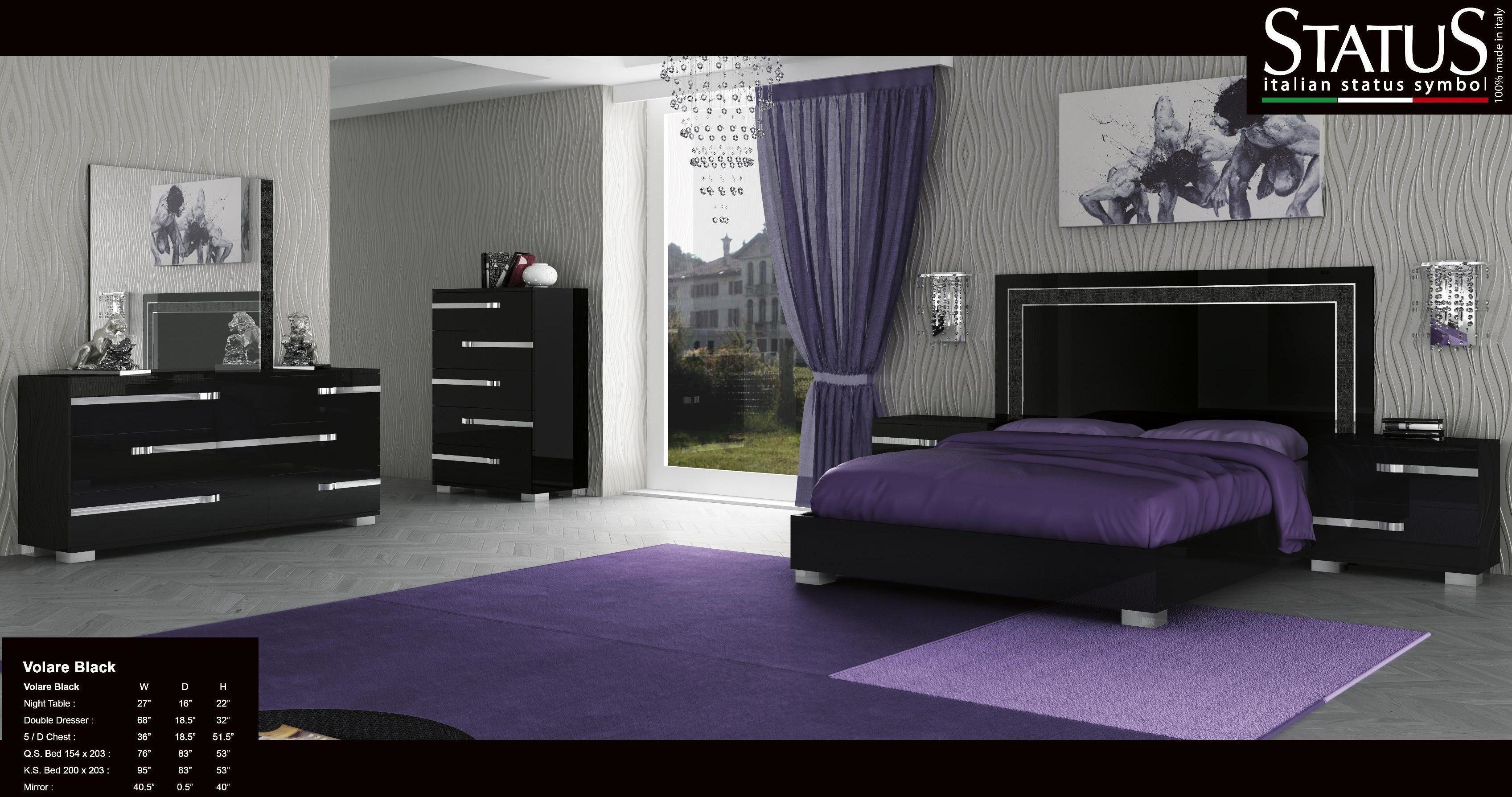 Best Volare King Size Modern Black Bedroom Set 5Pc Made In With Pictures