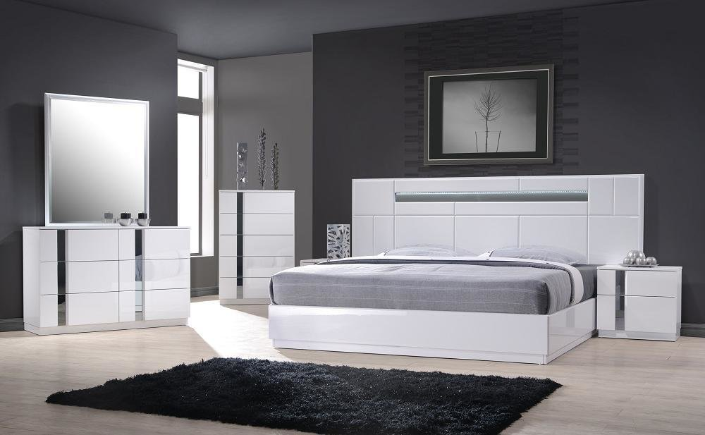 Best Monte Carlo Queen Size White Lacquer Chrome 5Pc Bedroom Set W Light Ebay With Pictures