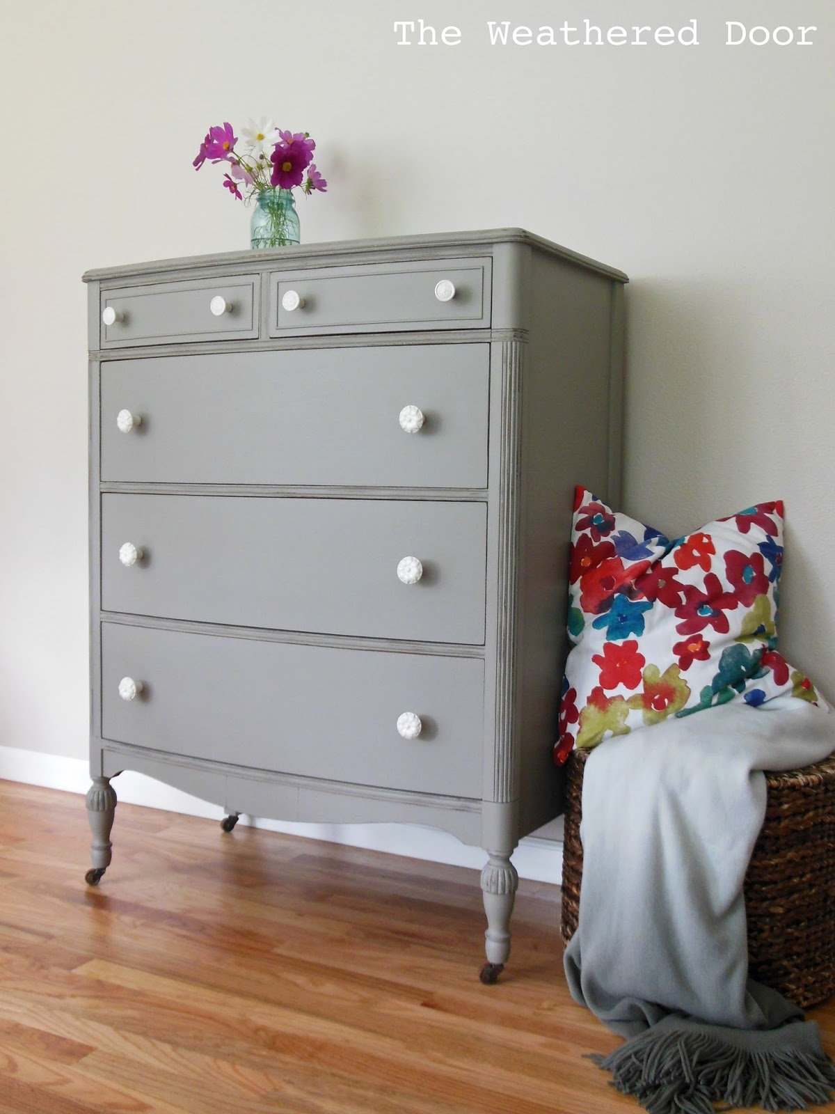 Best A Distressed Elephant Grey Dresser With White Knobs The With Pictures