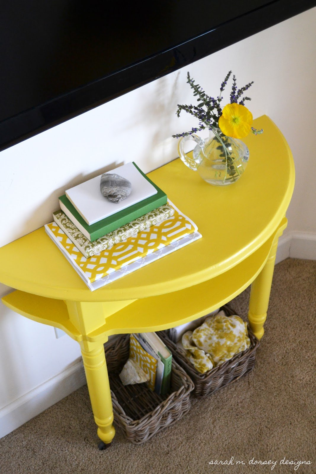 Best Sarah M Dorsey Designs Yellow Console Table For Master With Pictures