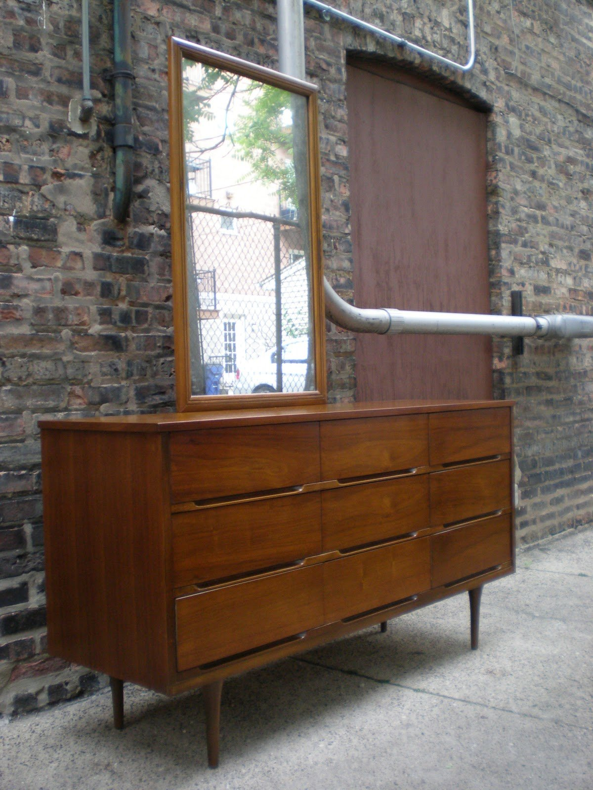 Best Mid Century Chicago 4 Piece Walnut Bedroom Set Highboy With Pictures