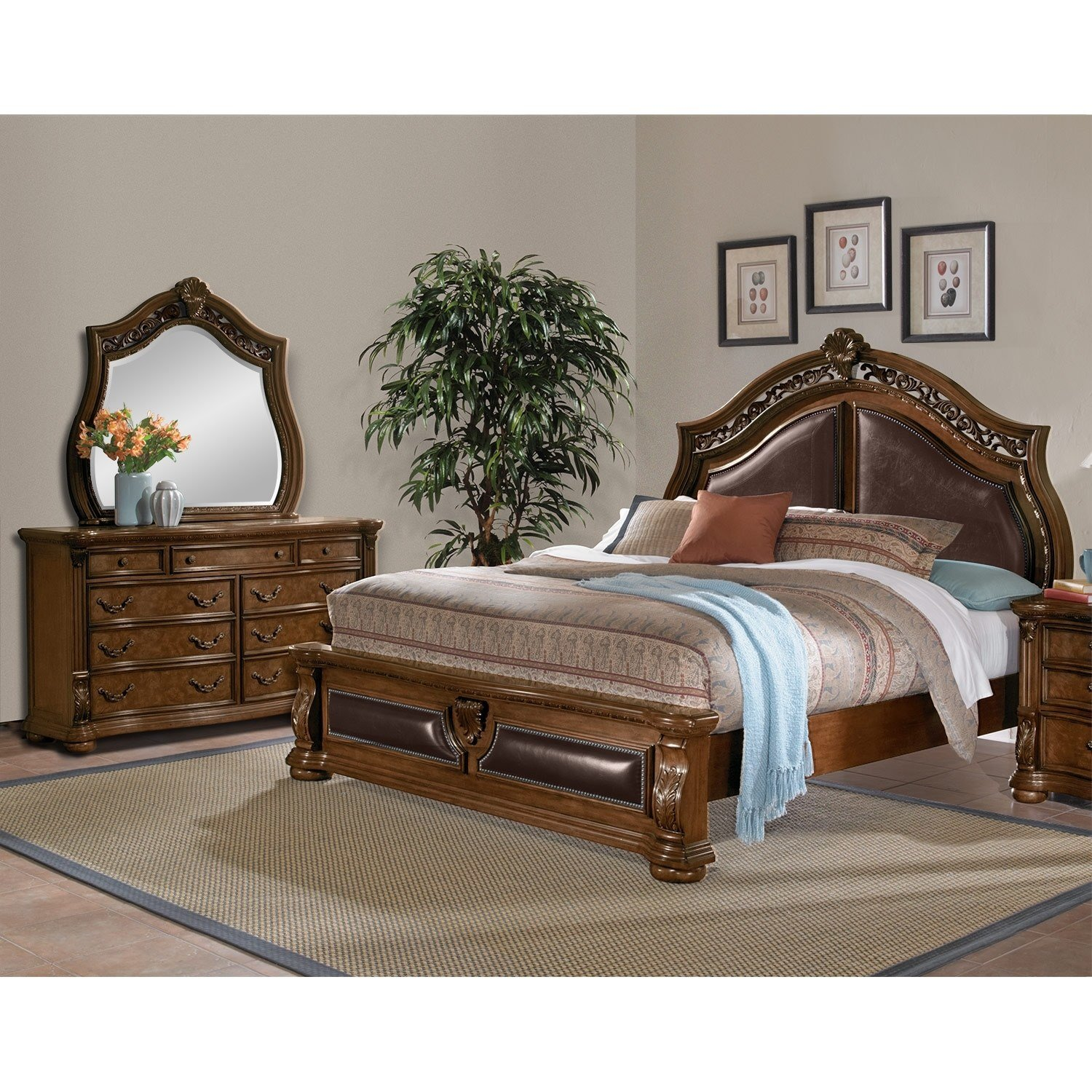 Best Morocco 5 Piece King Bedroom Set Pecan American Signature Furniture With Pictures