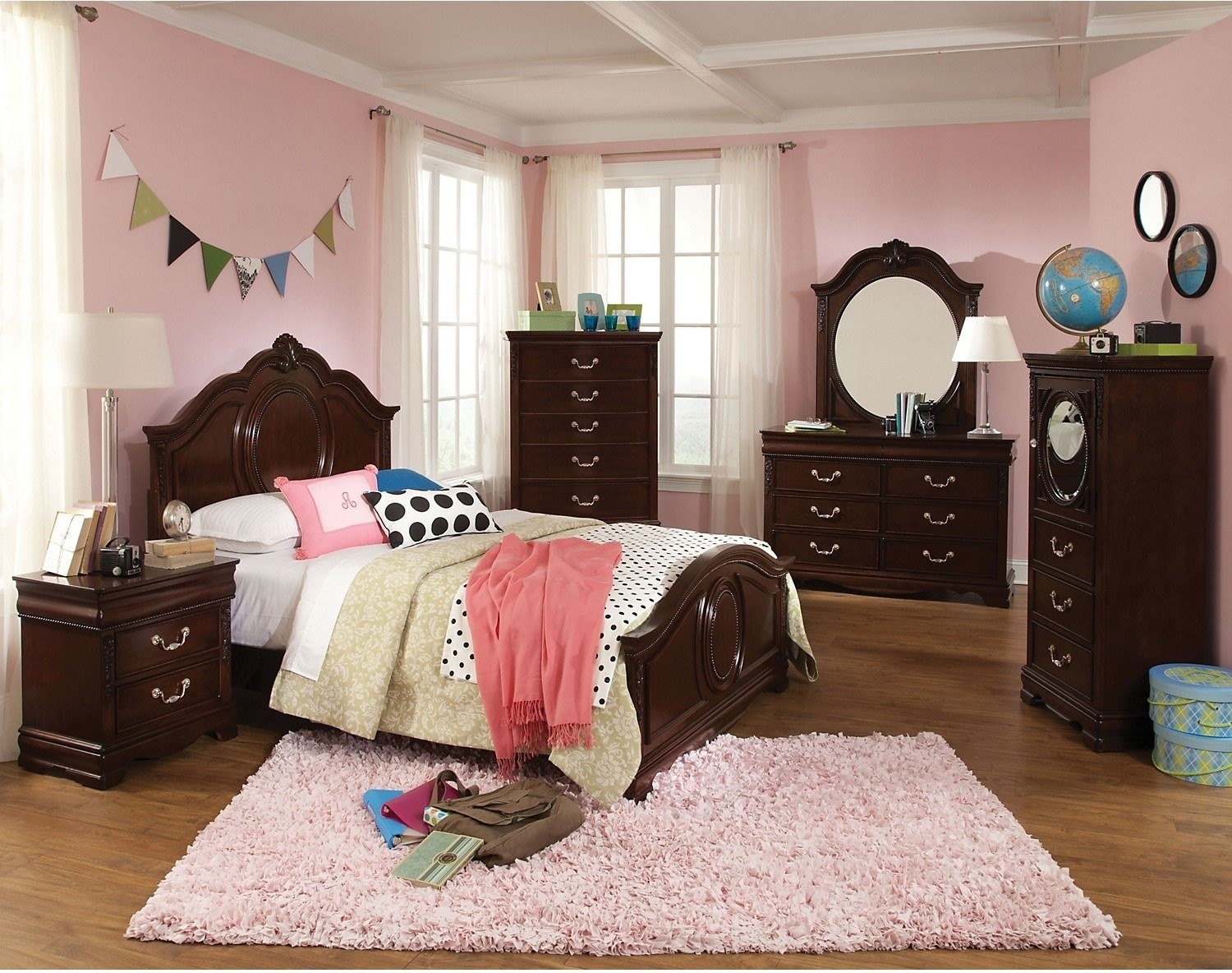 Best Jessica 7 Piece Twin Bedroom Set – Cherry The Brick With Pictures