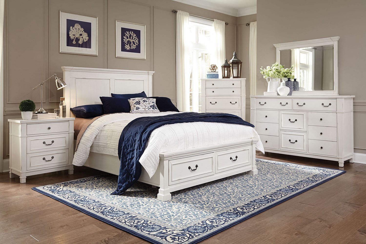 Best Taryn 4 Piece King Storage Bedroom Set Antique White With Pictures