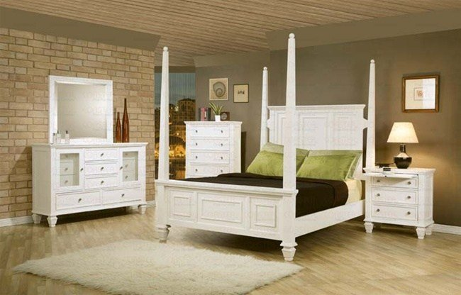 Best 6 Piece Sandy Beach Bedroom Set With Poster Bed In White With Pictures