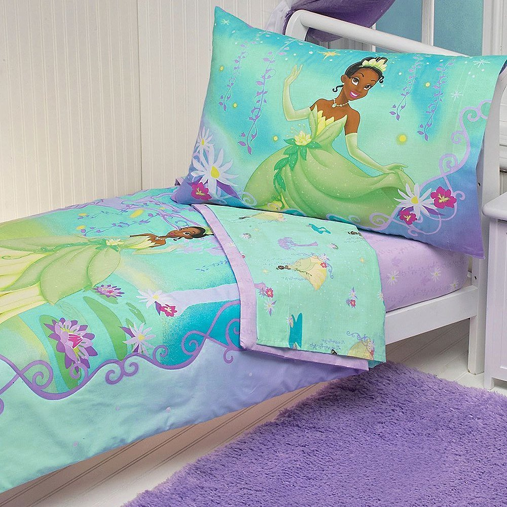 Best 4Pc Disney Princess Frog Toddler Bed Set Tiana Purple With Pictures