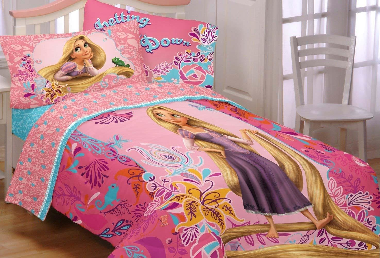 Best New 4Pc Disney Tangled Twin Bed In Bag Princess Rapunzel With Pictures