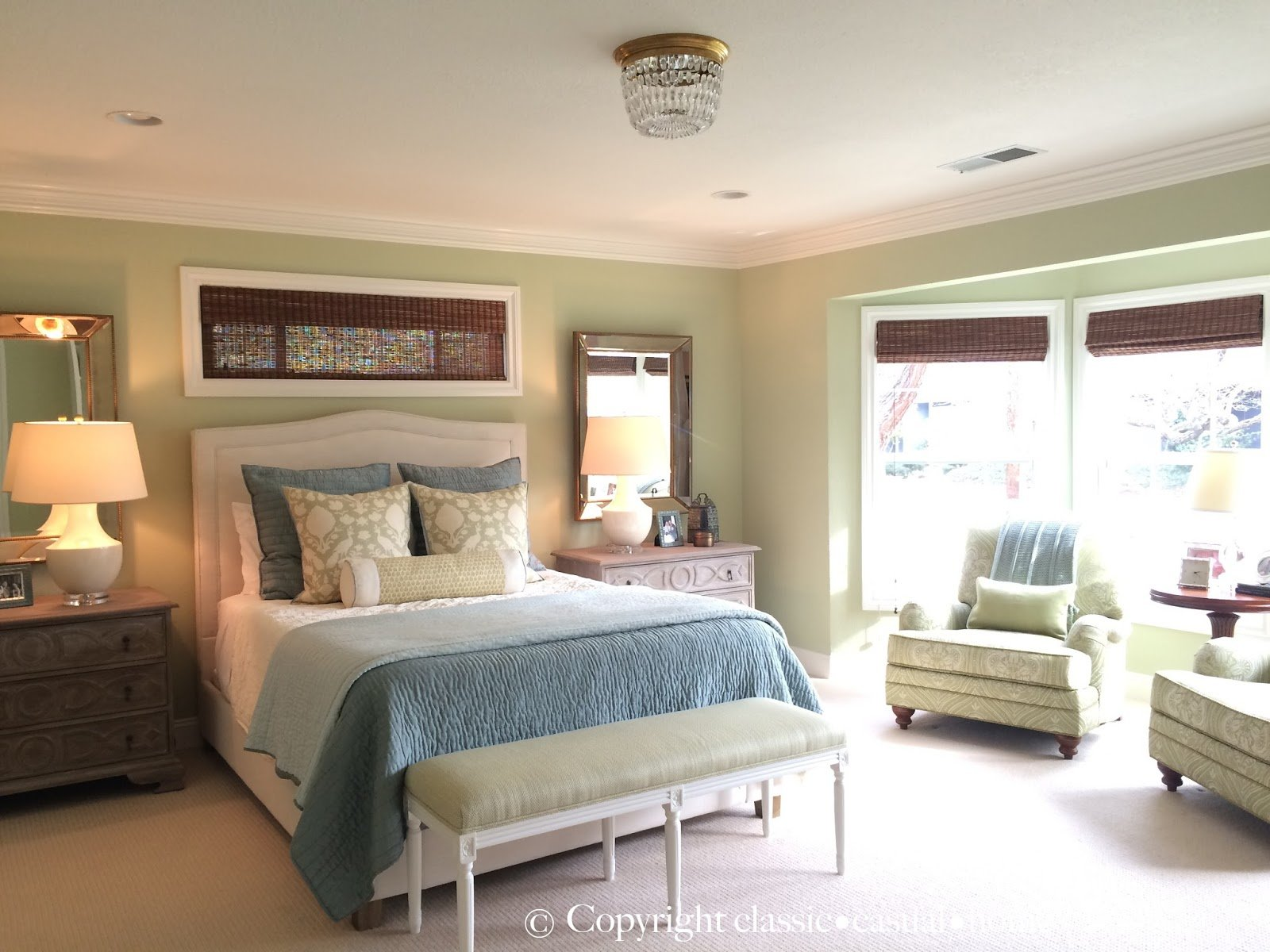 Best Classic • Casual • Home Soft Green Blue Master Bedroom Sources With Pictures