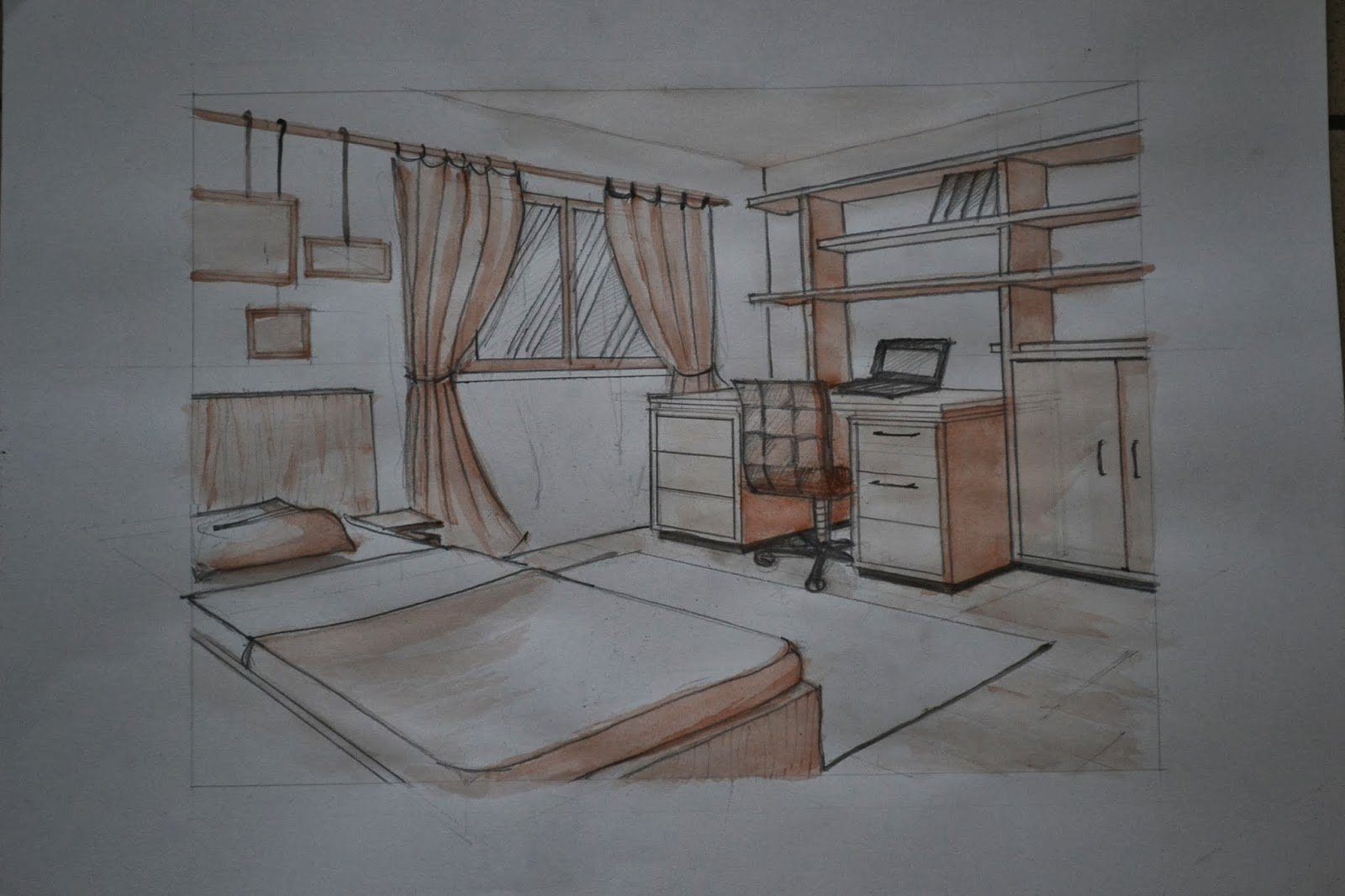 Best 1112911736 Interior Two Point Perspective Of A Simple With Pictures