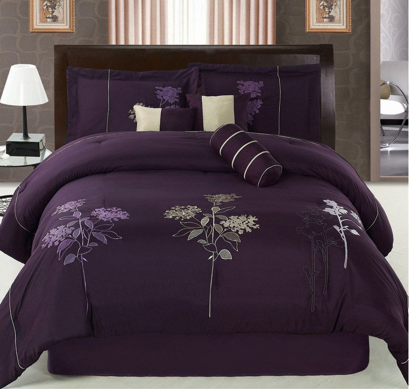 Best 7Pcs Queen Purple Floral Embroidered Comforter Set Ebay With Pictures