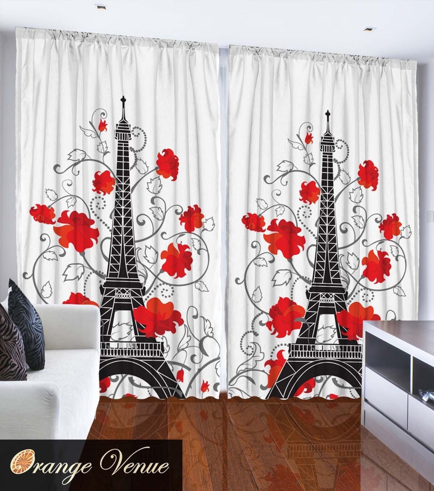 Best Eiffel Tower Paris City Decor Bedroom Accessories French Style Curtain 2 Panels Ebay With Pictures