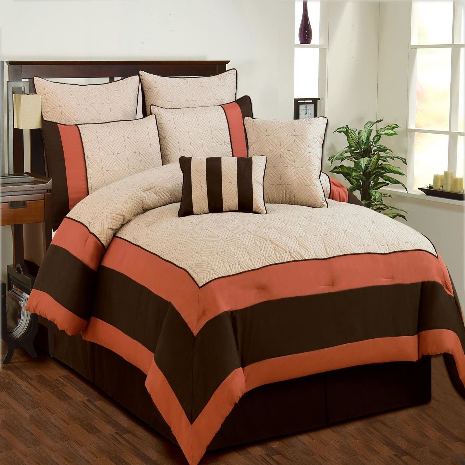 Best Aspen Beige Brown Coral Quilted Comforter Bed In A Bag With Pictures