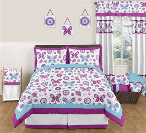 Best Purple Turquoise Butterfly Flowers Full Queen Size Bedding With Pictures