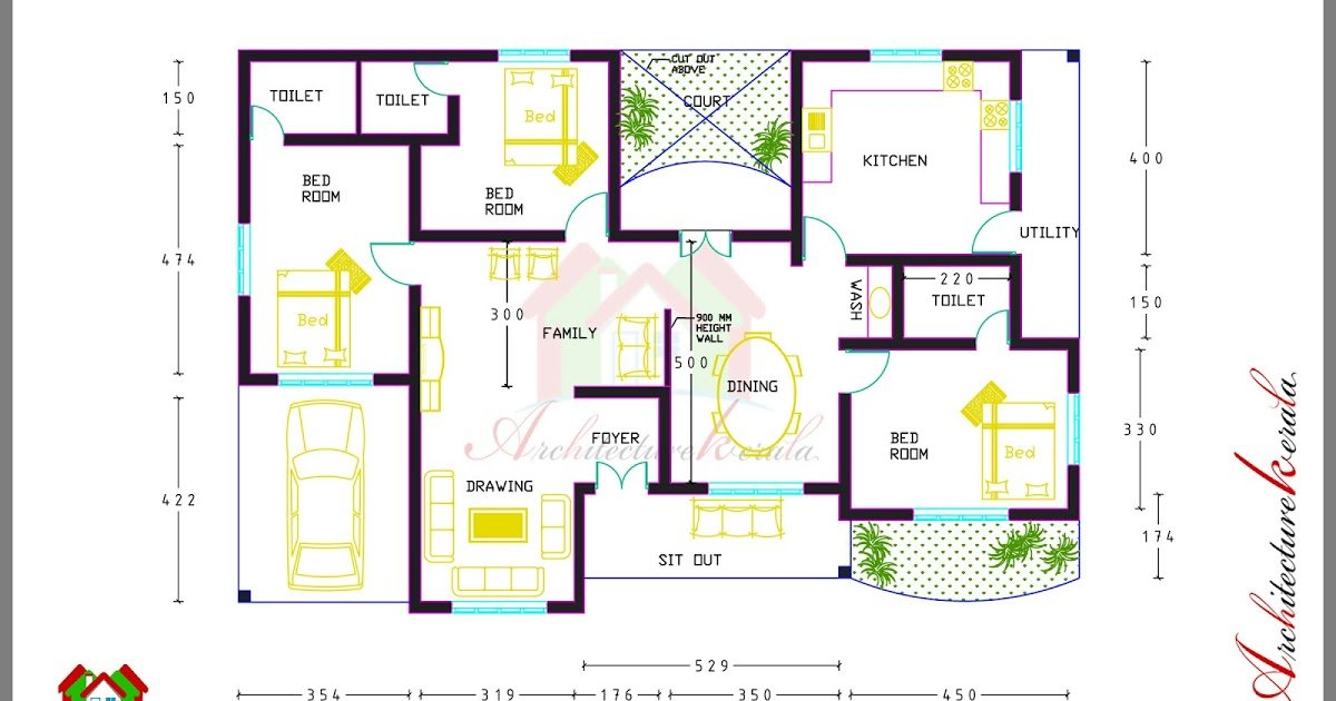 Best 3 Bed Room House Plan With Room Dimensions Architecture Kerala With Pictures